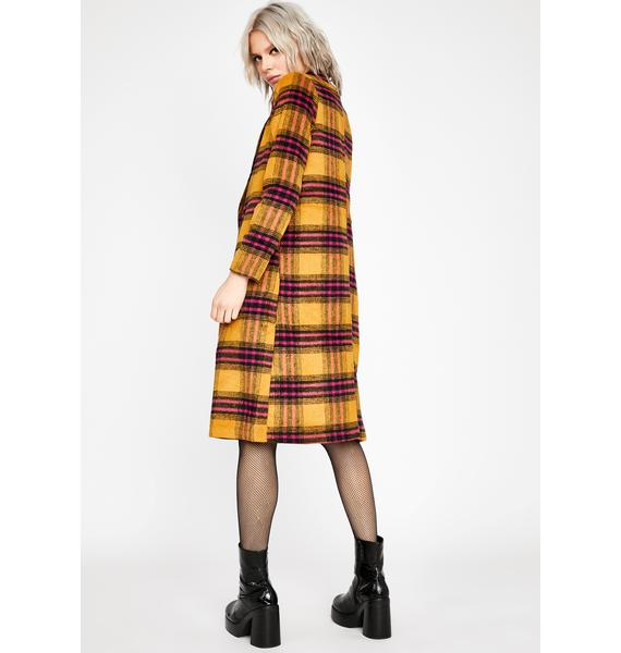 Honey Perfect In Plaid Trench Coat