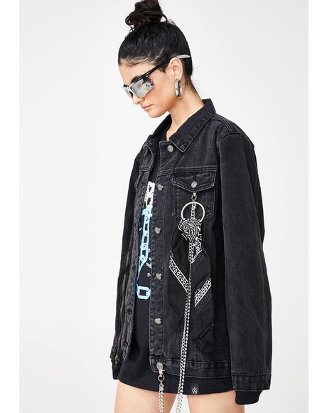 Zip Sleeve Black Denim Jacket