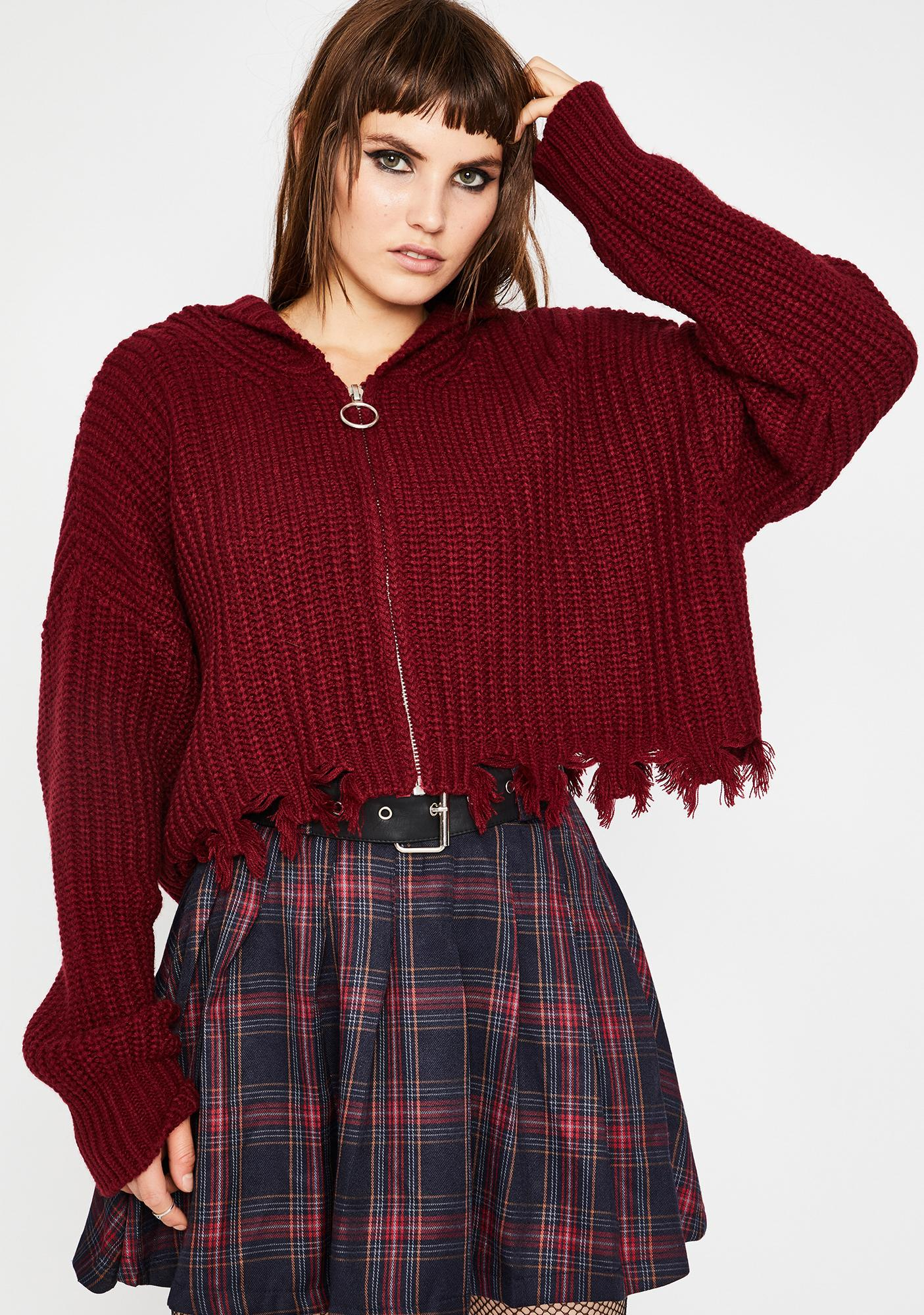 Current Mood Everything Sucks Crop Sweater