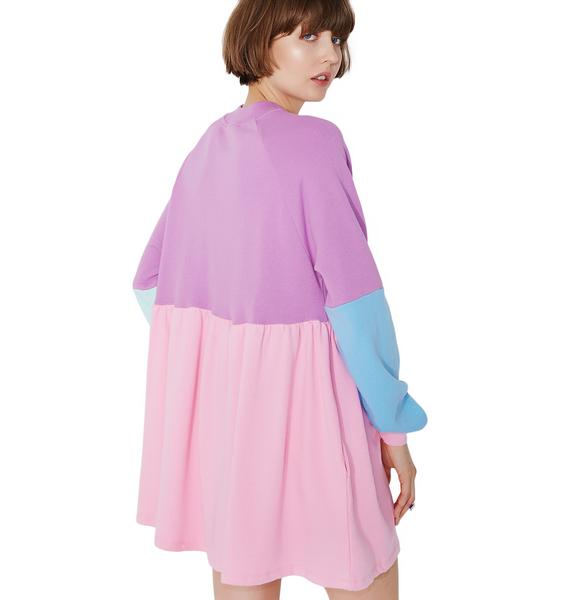 Lazy Oaf Panel Popper Sweater Dress