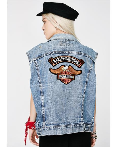 Vintage Harley Patch Levi's Denim Vest
