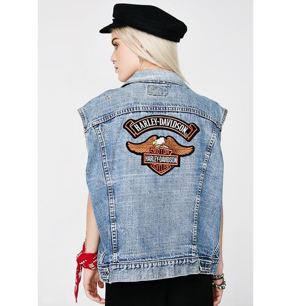 Vintage Harley Patch Levi's Denim Vest