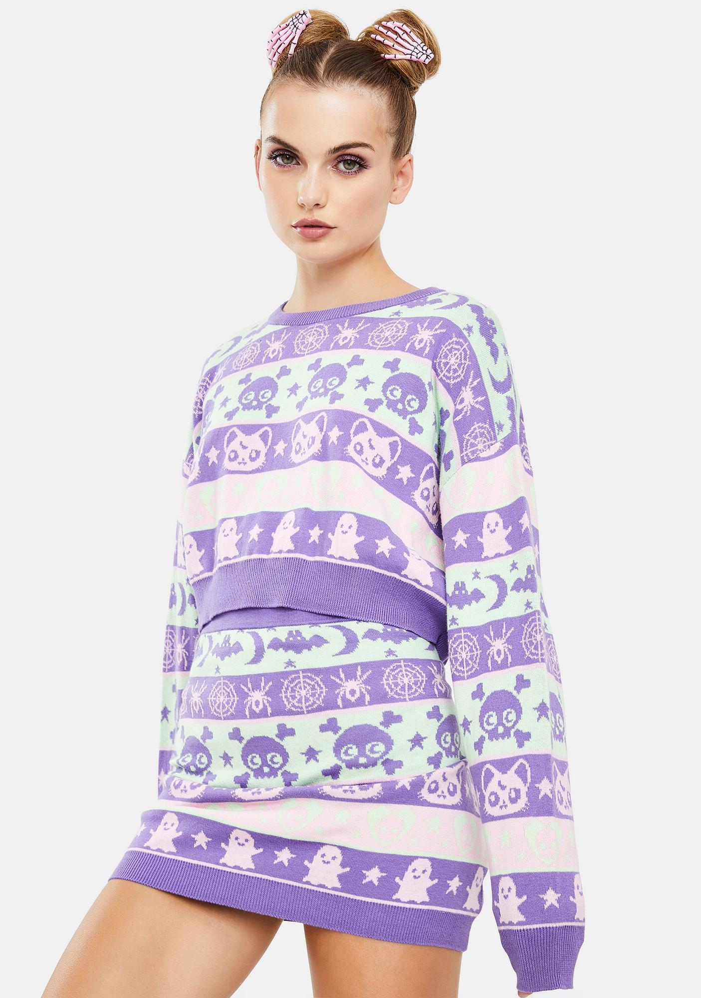Dolls Kill Eclipse Daze Cropped Sweater