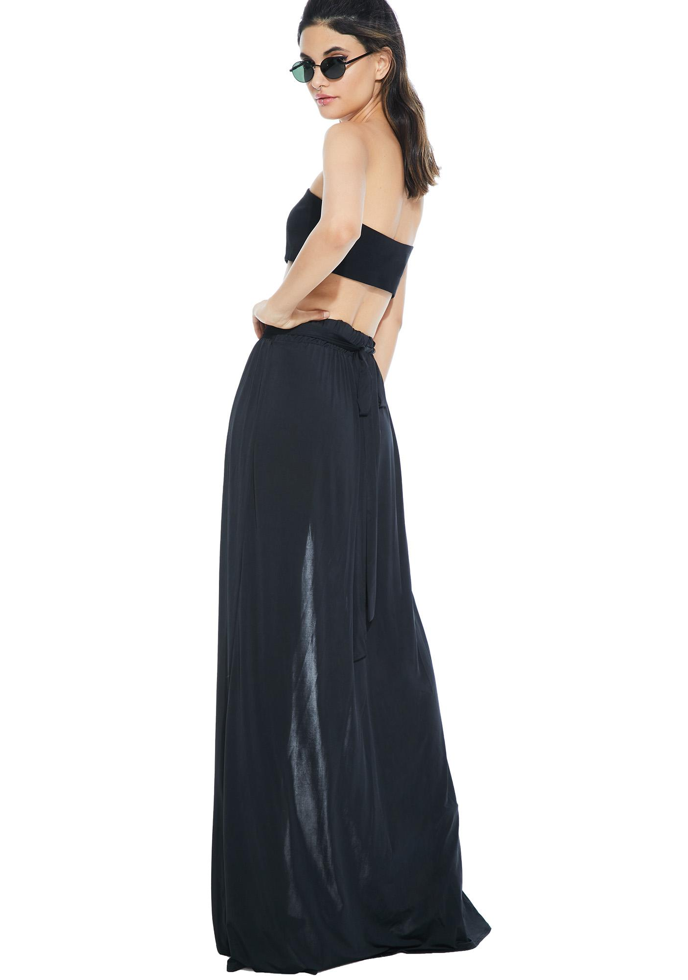 slit sheer maxi skirt black dolls kill