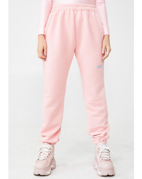 Pink Quilted Sweatpants