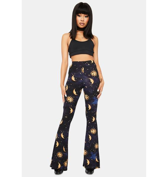 Made Of Stardust Celestial Print Flare Pants