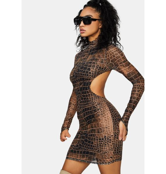 Crocodile On The Prowl Mini Dress