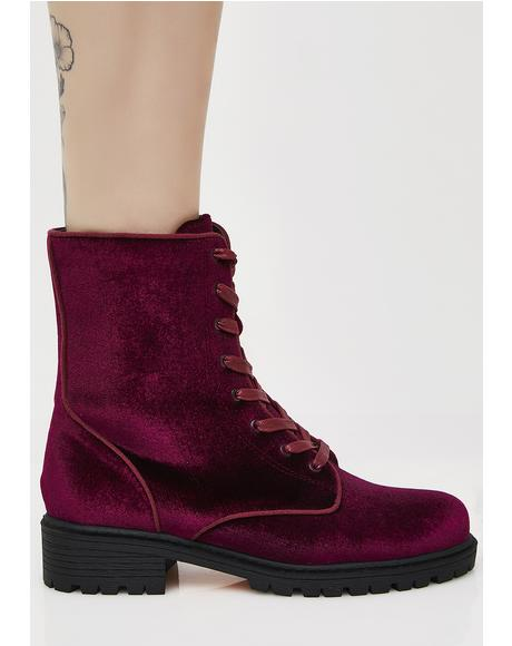 Wine Unlocked Love Combat Boots