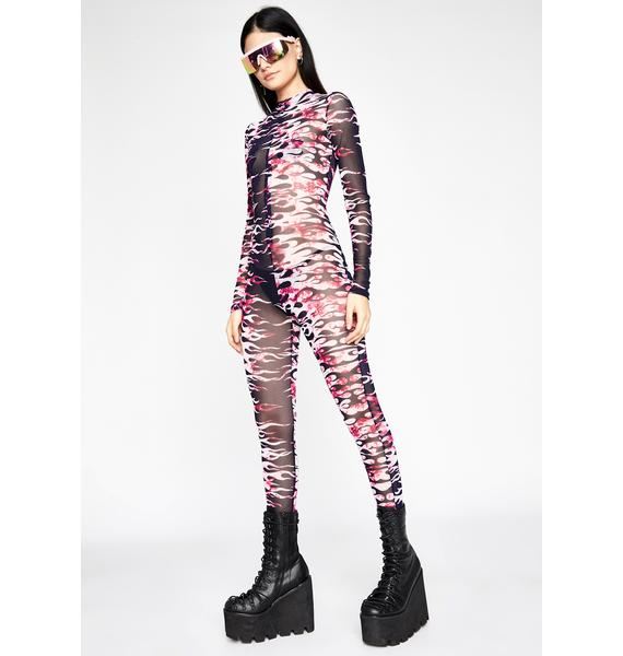 Flaming Fatality Mesh Jumpsuit