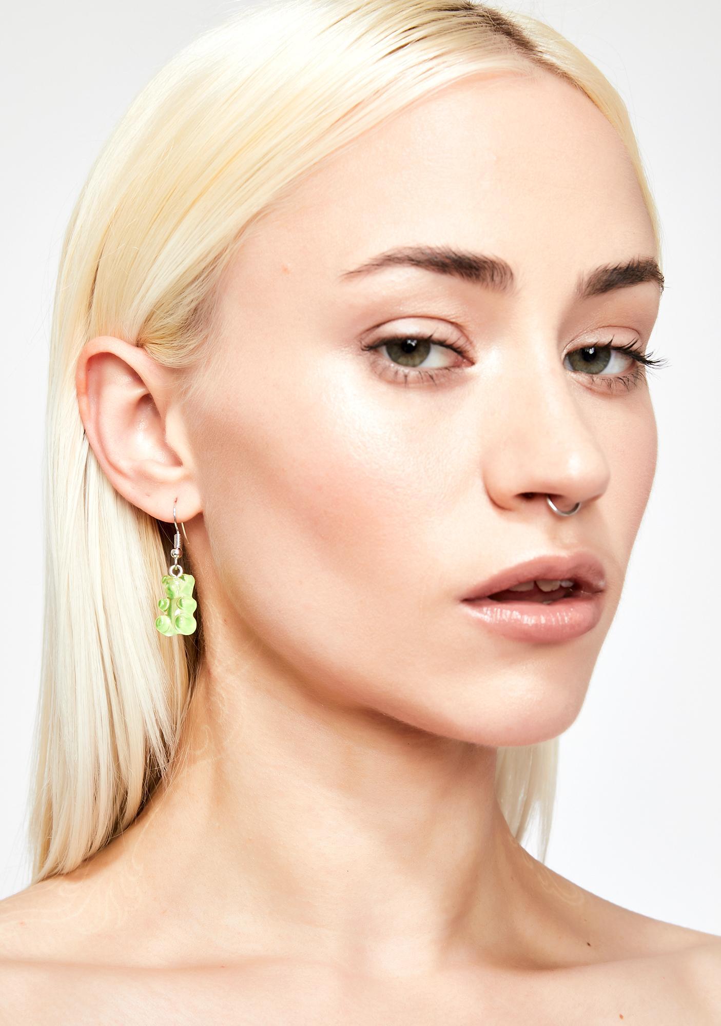 Lime Sugar Forest Gummy Bear Earrings