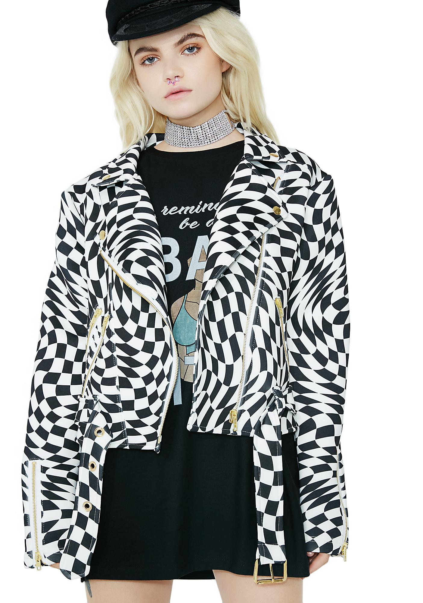 Sugarpills Checkerboard Moto Jacket