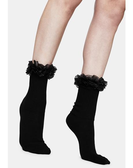 Noir Precious Love Ruffle Ankle Socks