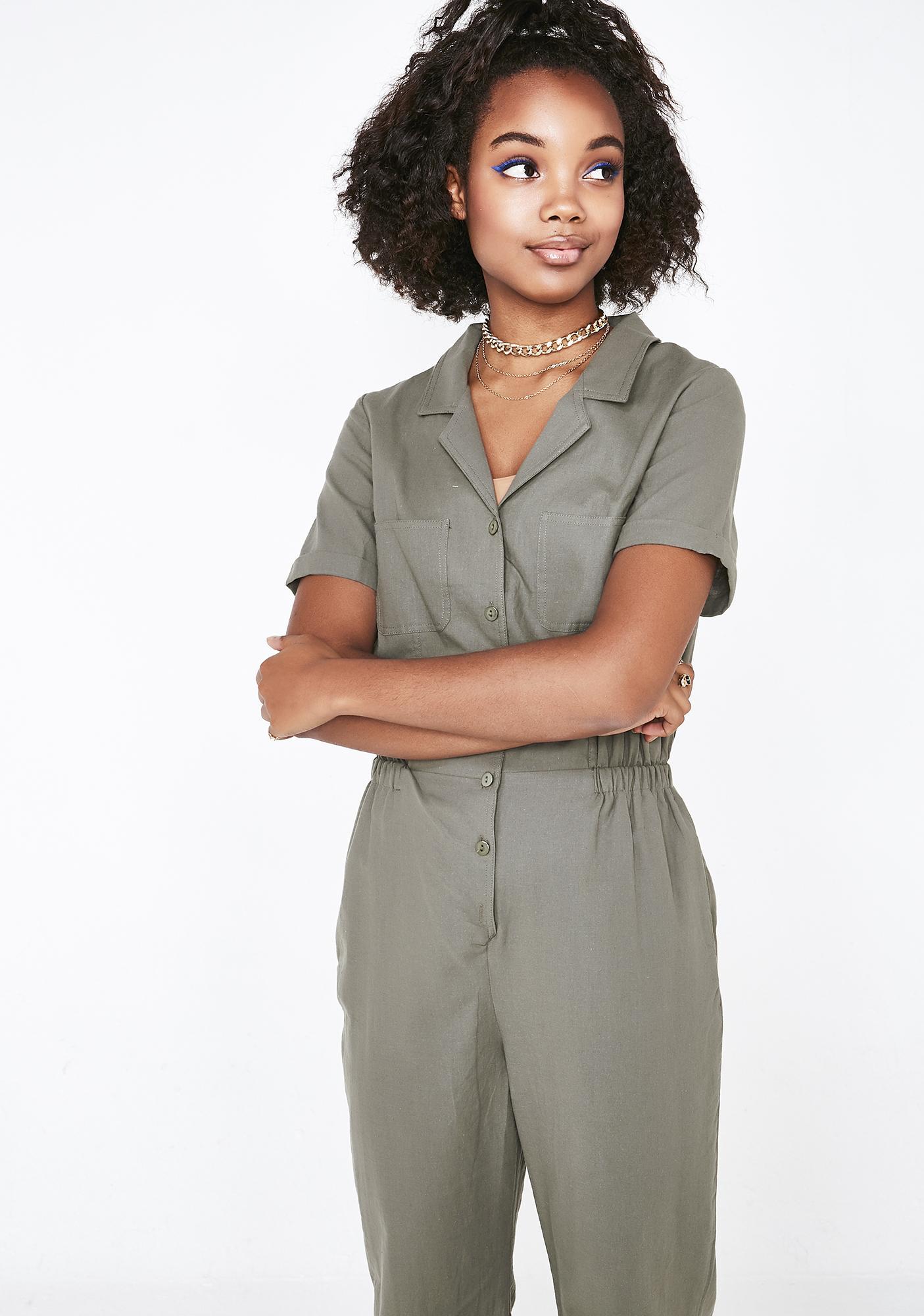 5634d1aae3e Short Sleeve Button Up Jumpsuit Green