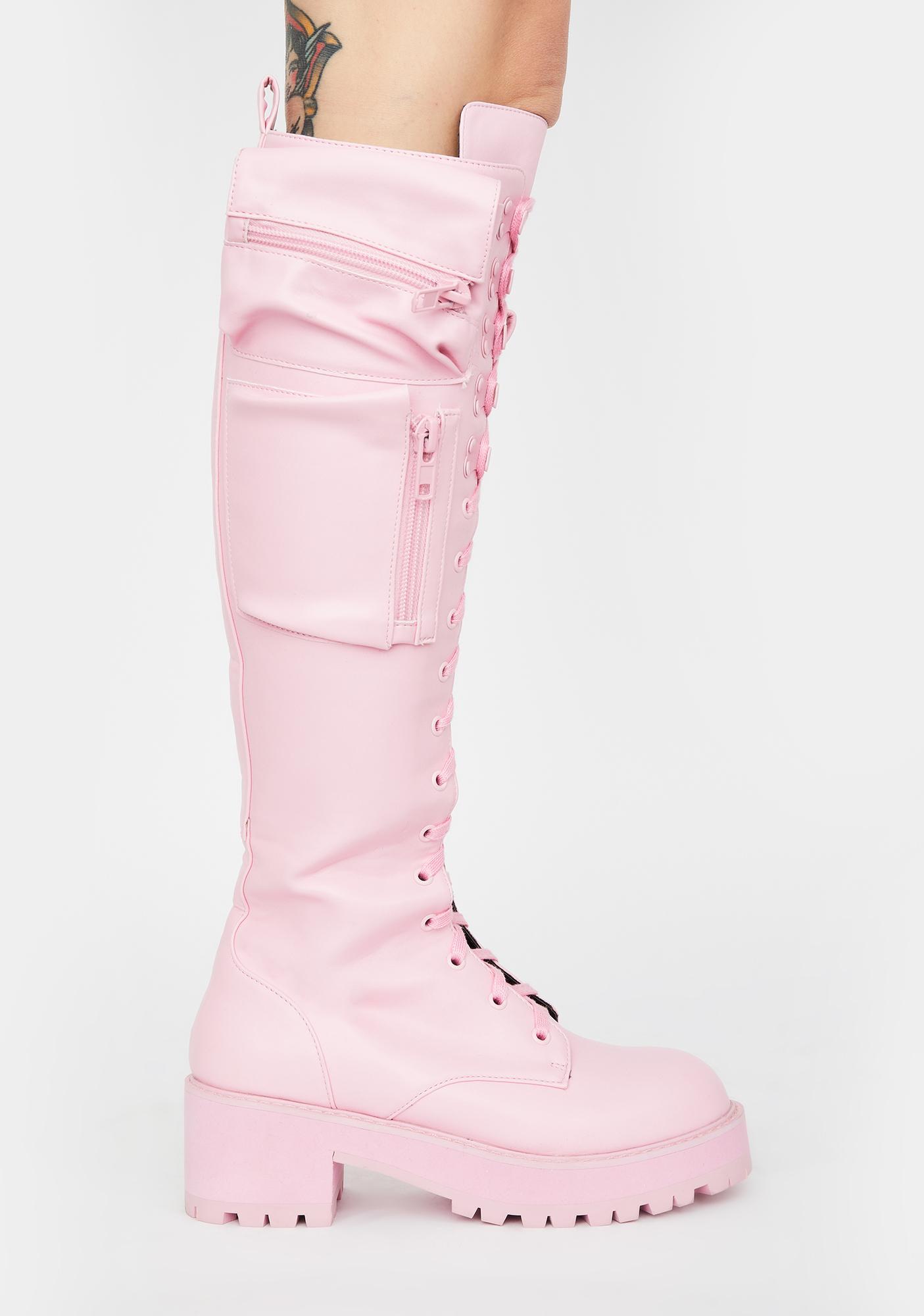 Sugar Thrillz Bubblegum Obsidian Pocket Combat Boots