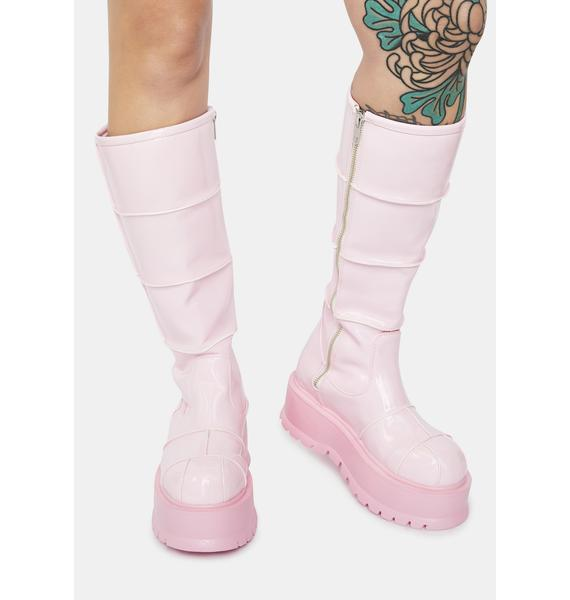 Demonia Pink Cerberus Knee High Boots