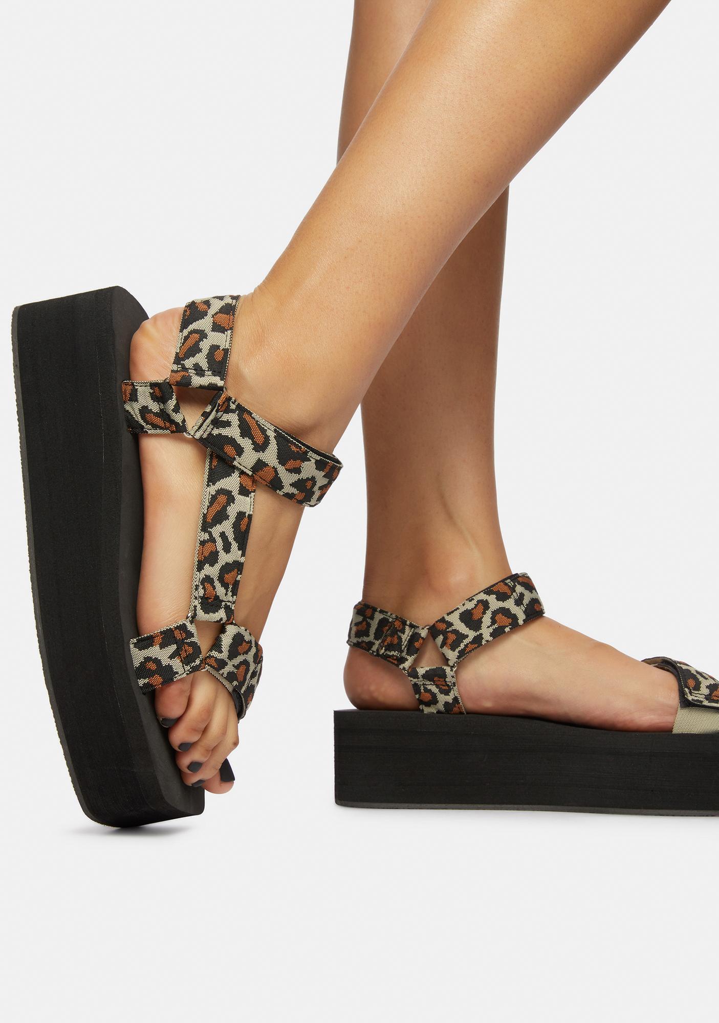 Purrfect Leopard Gonna Getcha Platform Sandals