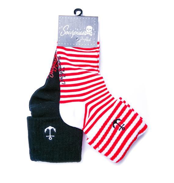 Sourpuss Clothing Anchor Socks Set