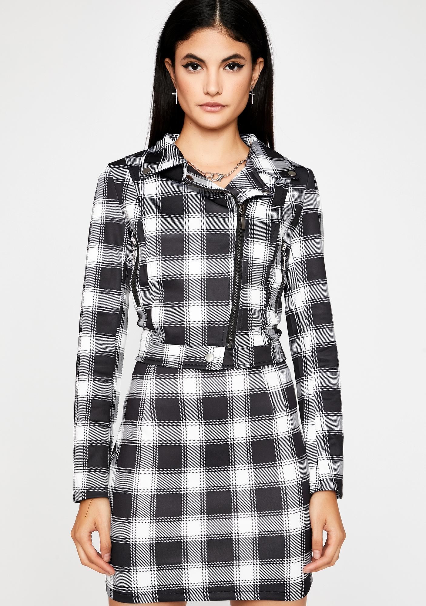 Plaid Action Moto Jacket by