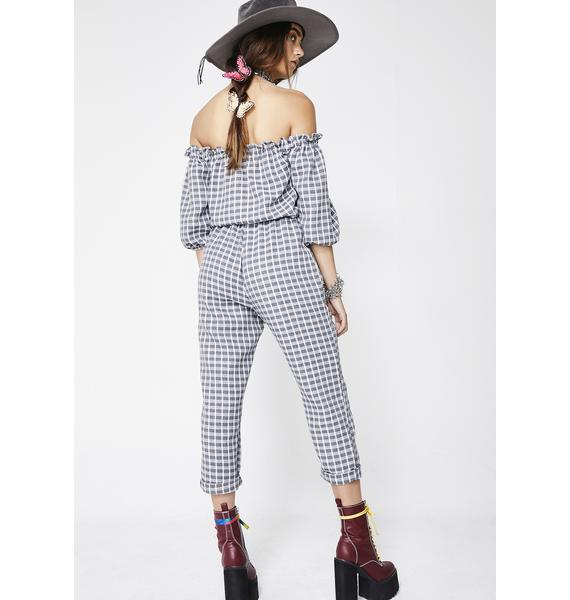Bring The Sass Plaid Jumpsuit