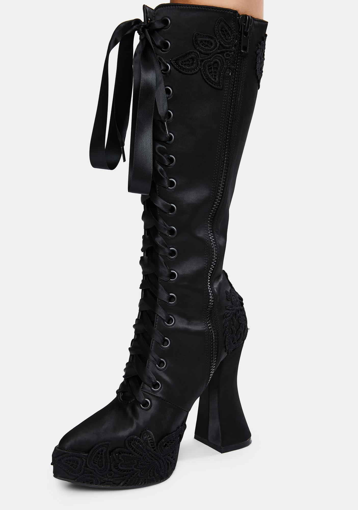Widow Paint It Black Satin Knee High Boots
