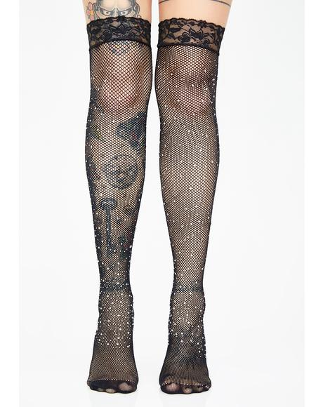 Gleam N' Glow Rhinestone Stockings