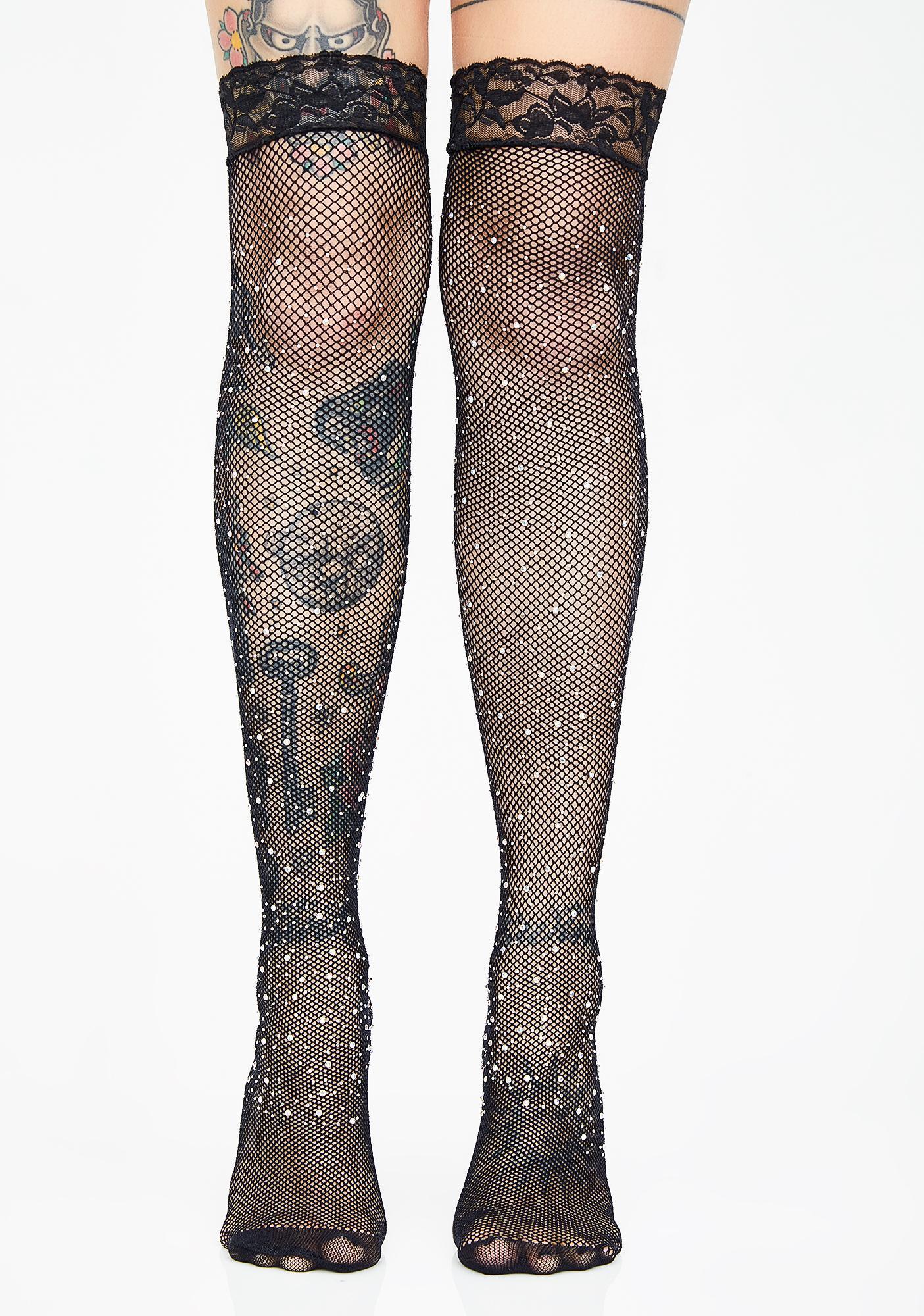 8e981395e Rhinestone Thigh High Fishnet Stockings