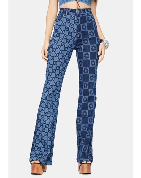 Flower Print Retro Flare Jeans