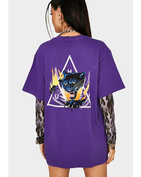 Grape Jungle Cat Triple Triangle Graphic Tee