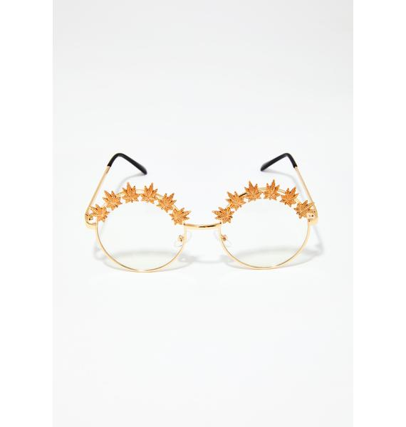 Blunted Objects Weed Leaf Embellished Glasses