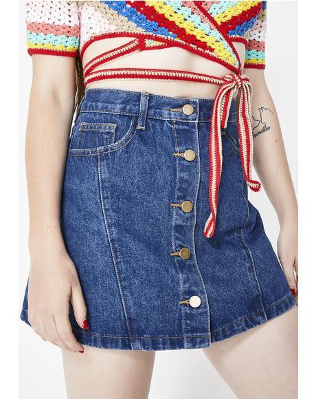 Blueberry Close Up Denim Skirt