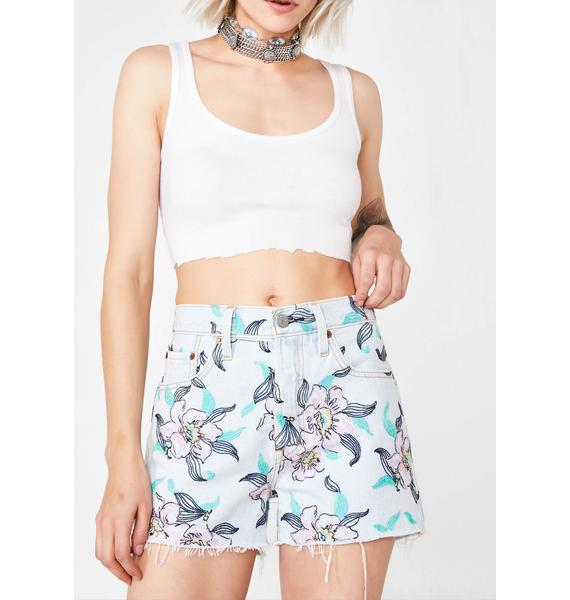 Levis Hella Blooms 501 High Rise Shorts
