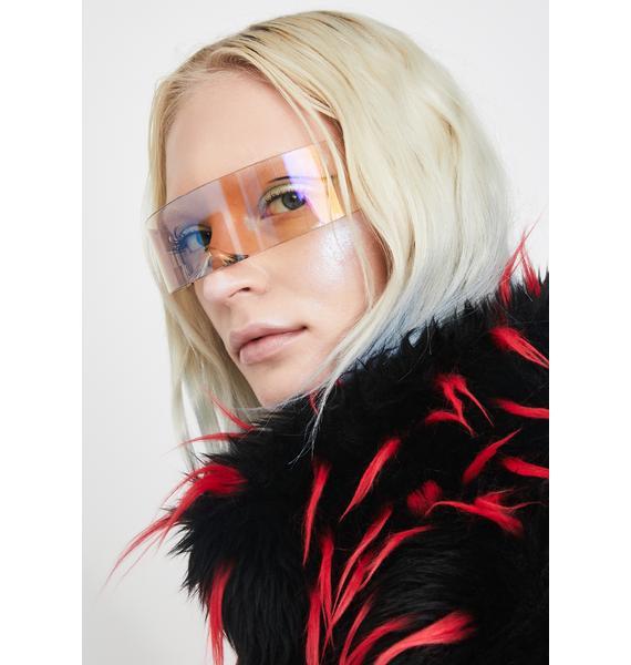 Replay Vintage Sunglasses Rainbow Iridescent Aria Shield Sunglasses
