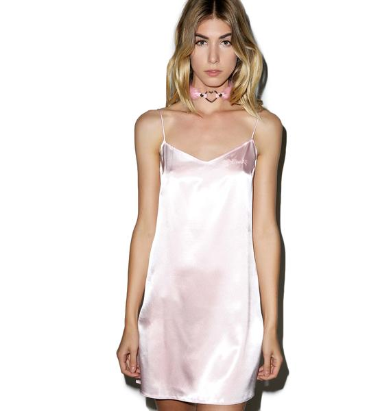 Local Heroes Kitten Pink Slip Satin Dress