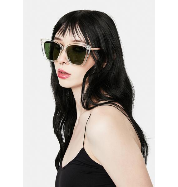 I-SEA Clear Aloha Fox Oversized Sunglasses