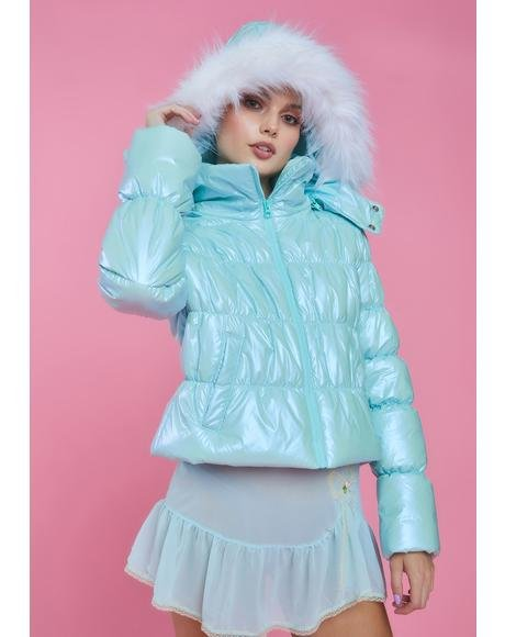 Sugarplum Fairy Metallic Puffer Jacket