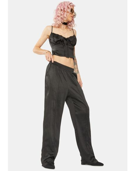 Black Low Rise Silky Trousers