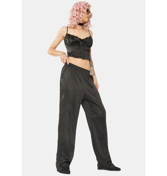 Bailey Rose Black Low Rise Silky Trousers
