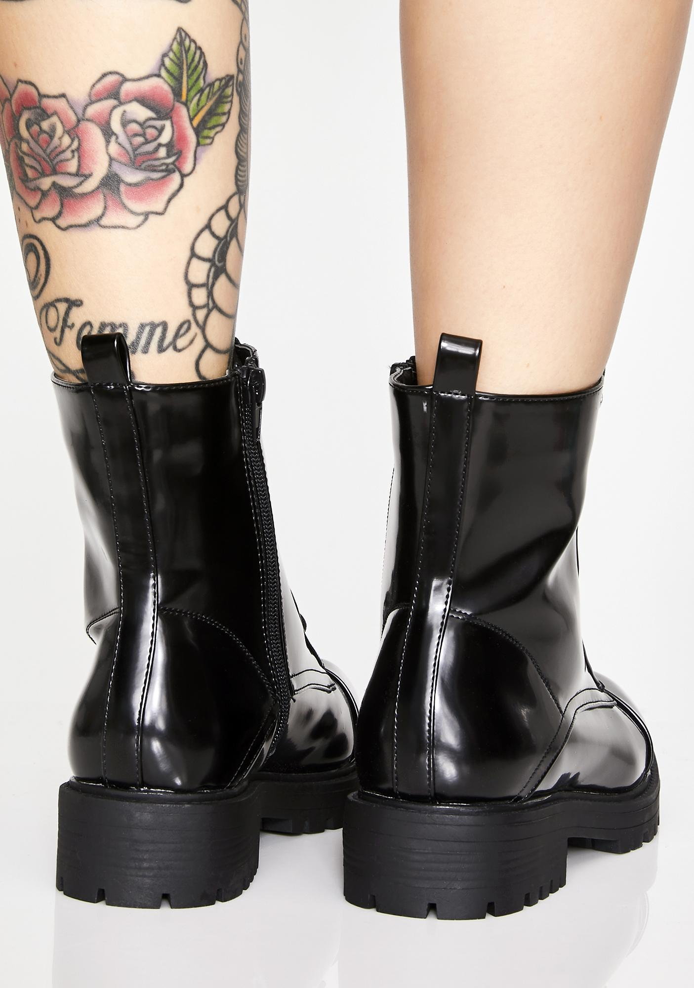 Midnight Glossy Illusions Combat Boots