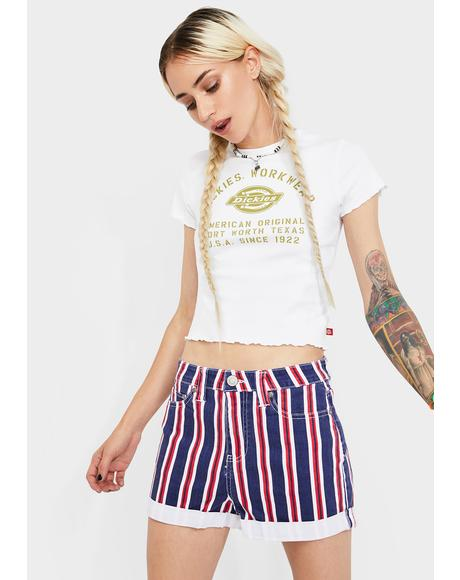 Striped High Rise Roll Cuff Shorts