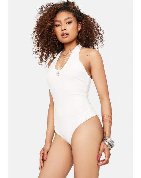Ivory Starting Trouble Halter Bodysuit