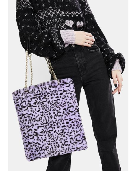 Lilac Leopard Fluffy Bag