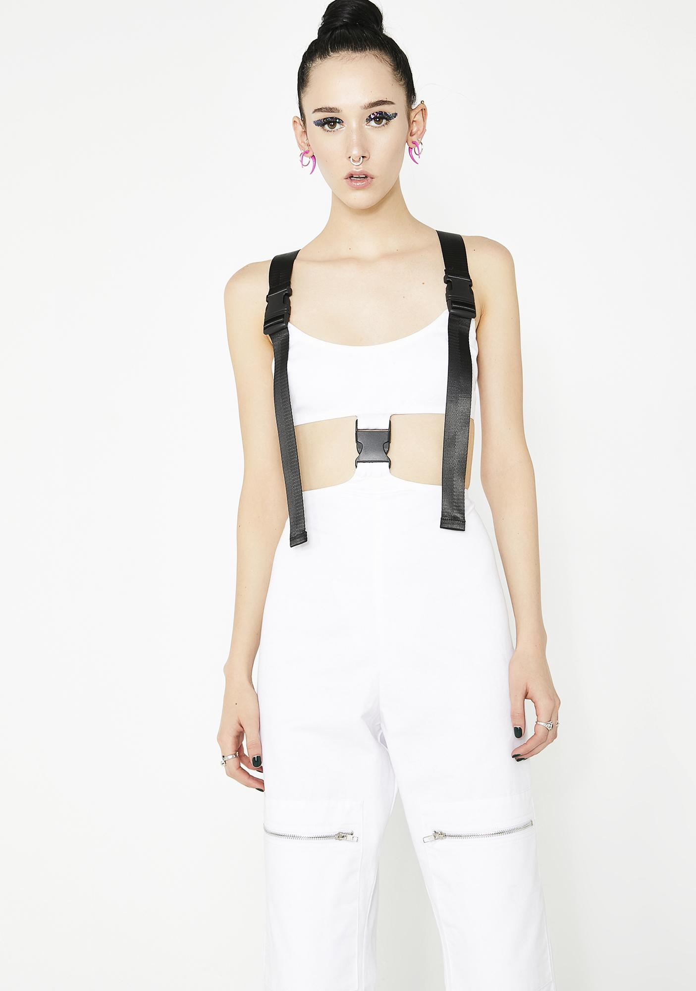 Jaded London White Cut Out Cargo Jumpsuit