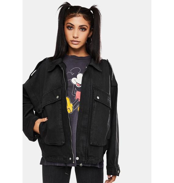 Neon Blonde High Flyer Denim Cargo Jacket