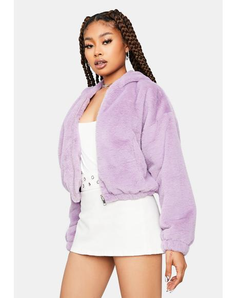 Lavender Selfish Needs Faux Fur Jacket