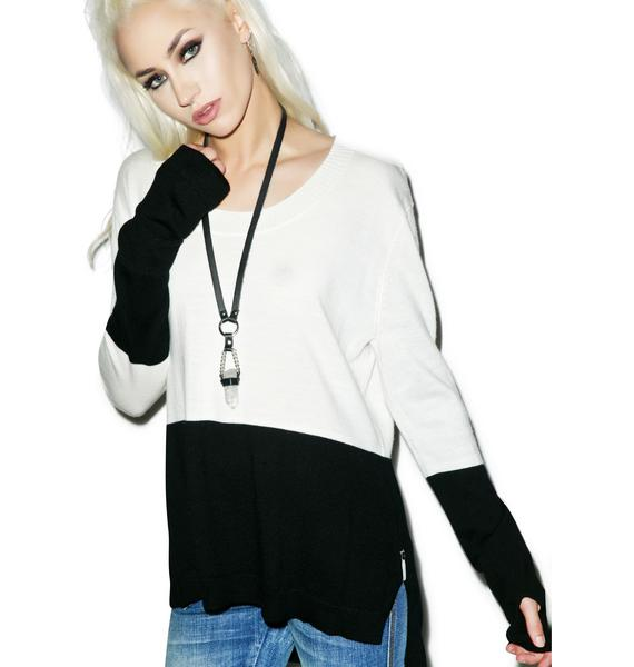 One Teaspoon Black Light Merino Knit Sweater
