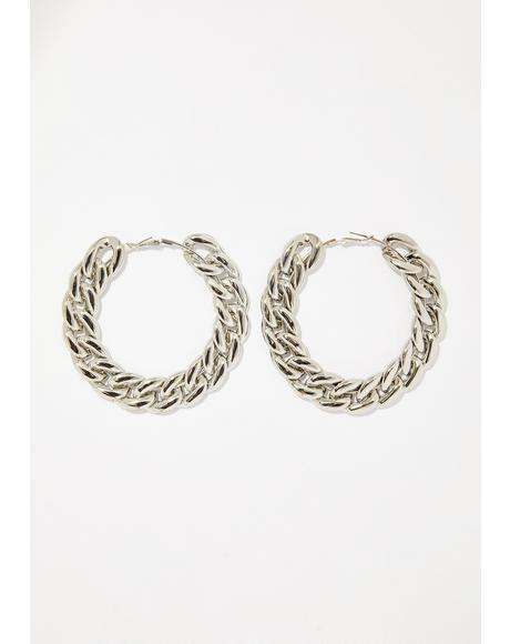 Chrome Chained To Me Hoop Earrings