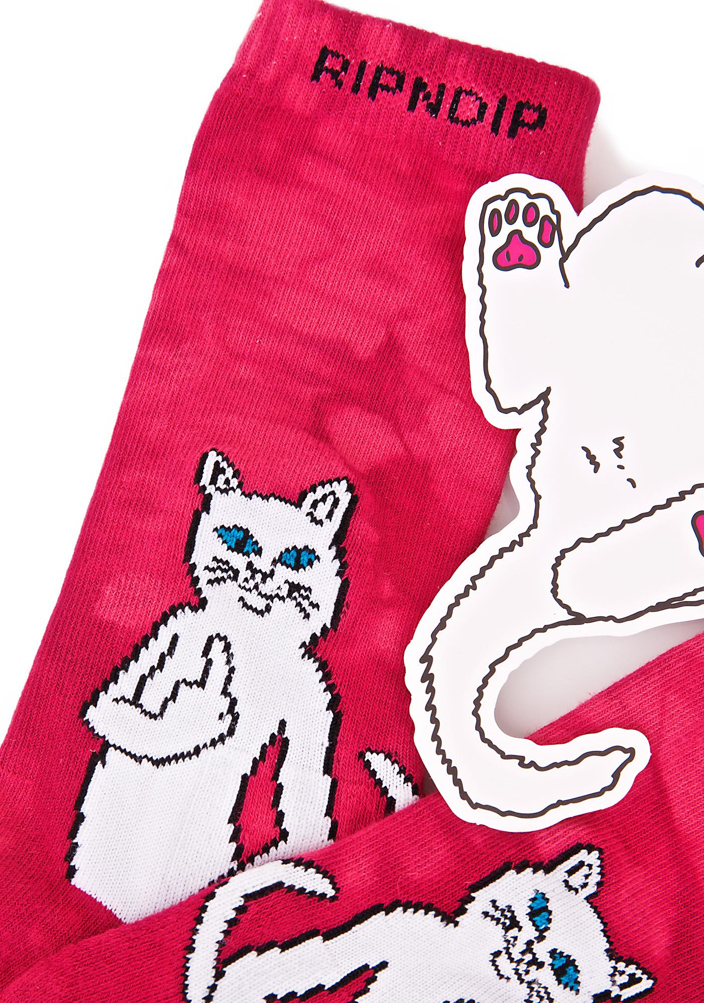 RIPNDIP Pink Catfish Socks