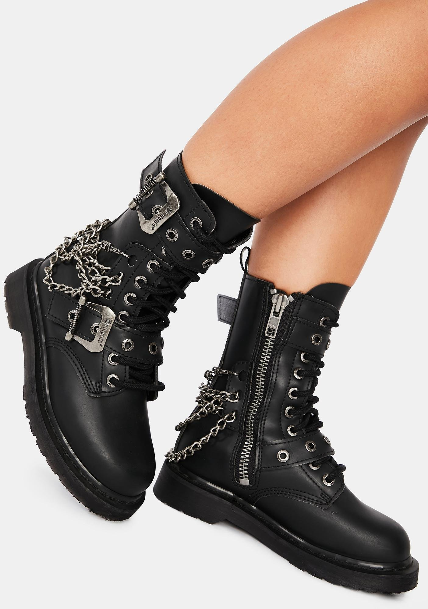 Demonia Chaos Reigns Combat Boots