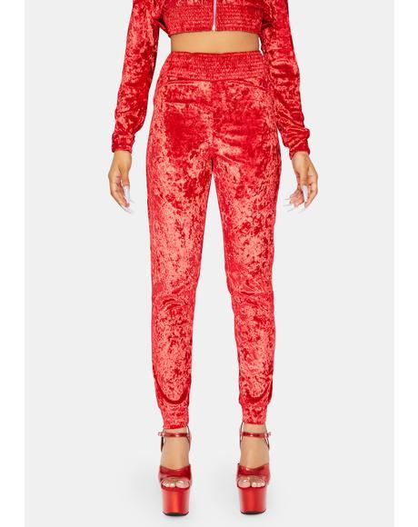 Smokey Mirrors Crushed Velvet Sweatpants