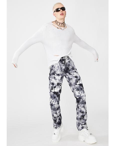 Gothic Print Boyfriend Fit Jeans